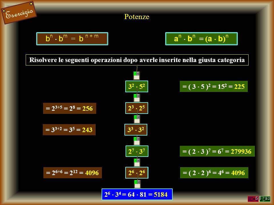 Potenze Risolvere le seguenti operazioni applicando le proprietà viste 3 2  4 2 = (3  4) 2 = 12 2 = 144 ( 4 3  (1/2) 3 ) = (4/2) 3 = 2 3 = 8 3 -2 