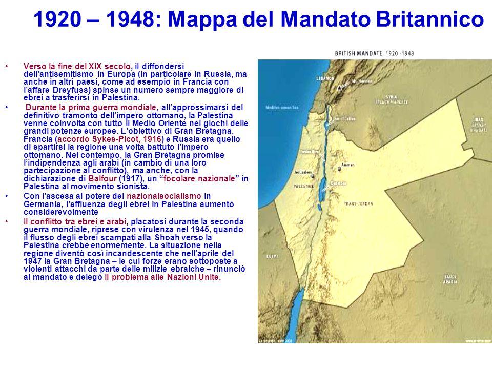 1920 – 1948: Mappa del Mandato Britannico Verso la fine del XIX secolo, il diffondersi dell'antisemitismo in Europa (in particolare in Russia, ma anch