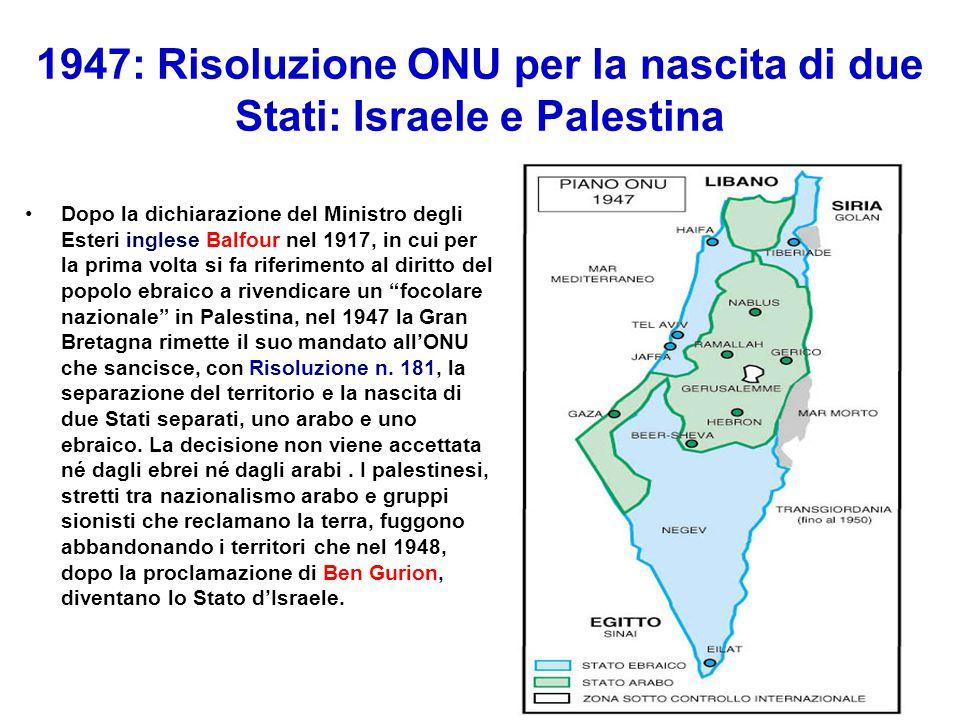 1947: Risoluzione ONU per la nascita di due Stati: Israele e Palestina Dopo la dichiarazione del Ministro degli Esteri inglese Balfour nel 1917, in cu
