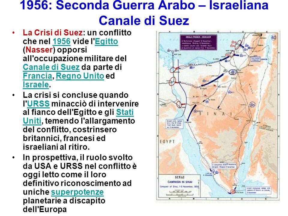 1956: Seconda Guerra Arabo – Israeliana Canale di Suez La Crisi di Suez: un conflitto che nel 1956 vide l'Egitto (Nasser) opporsi all'occupazione mili