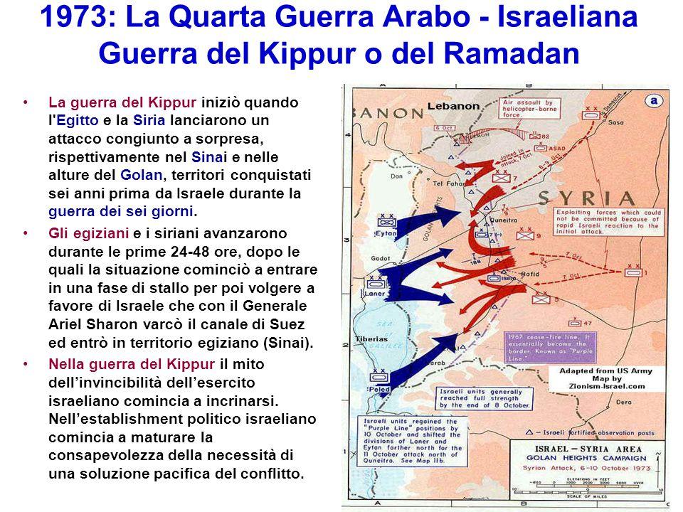 1973: La Quarta Guerra Arabo - Israeliana Guerra del Kippur o del Ramadan La guerra del Kippur iniziò quando l'Egitto e la Siria lanciarono un attacco