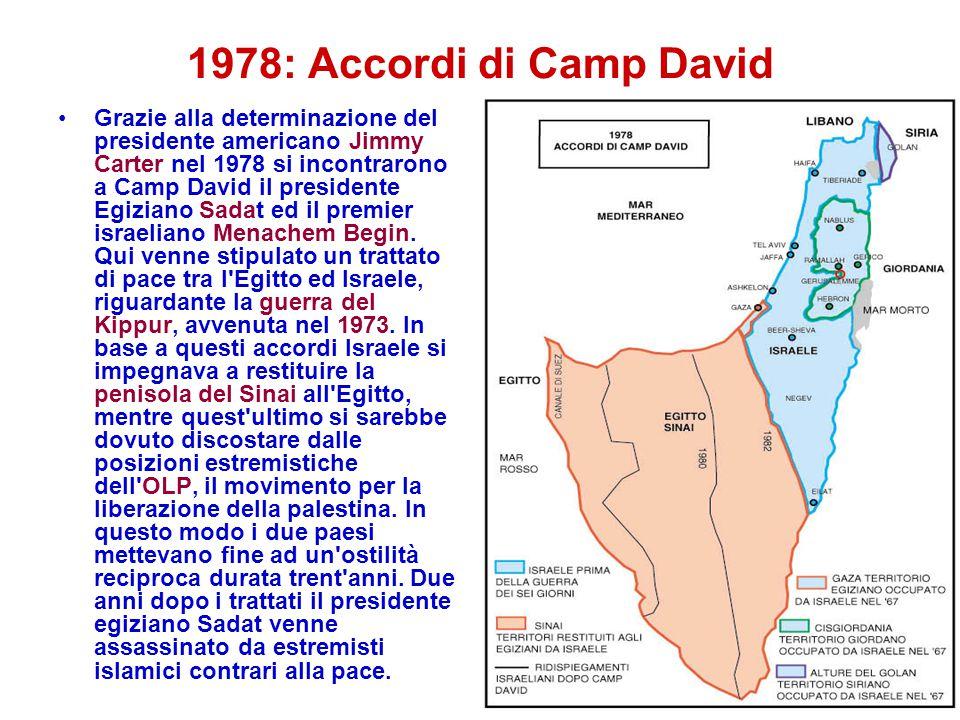 1978: Accordi di Camp David Grazie alla determinazione del presidente americano Jimmy Carter nel 1978 si incontrarono a Camp David il presidente Egizi