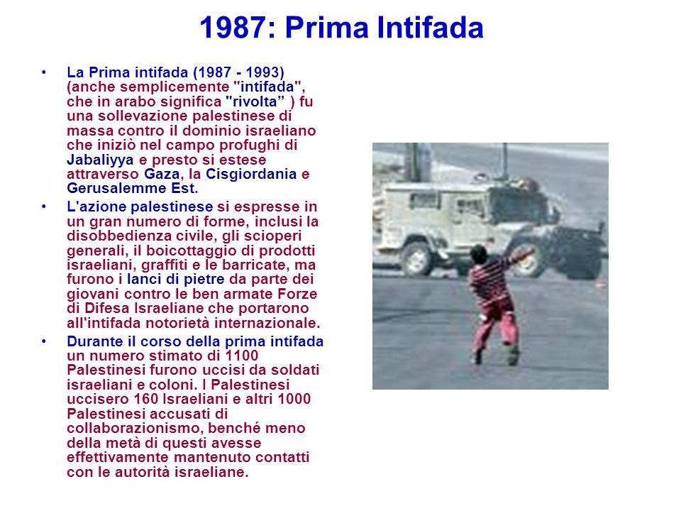 1987: Prima Intifada La Prima intifada (1987 - 1993) (anche semplicemente