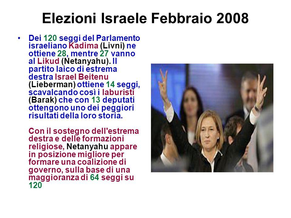 Elezioni Israele Febbraio 2008 Dei 120 seggi del Parlamento israeliano Kadima (Livni) ne ottiene 28, mentre 27 vanno al Likud (Netanyahu). Il partito