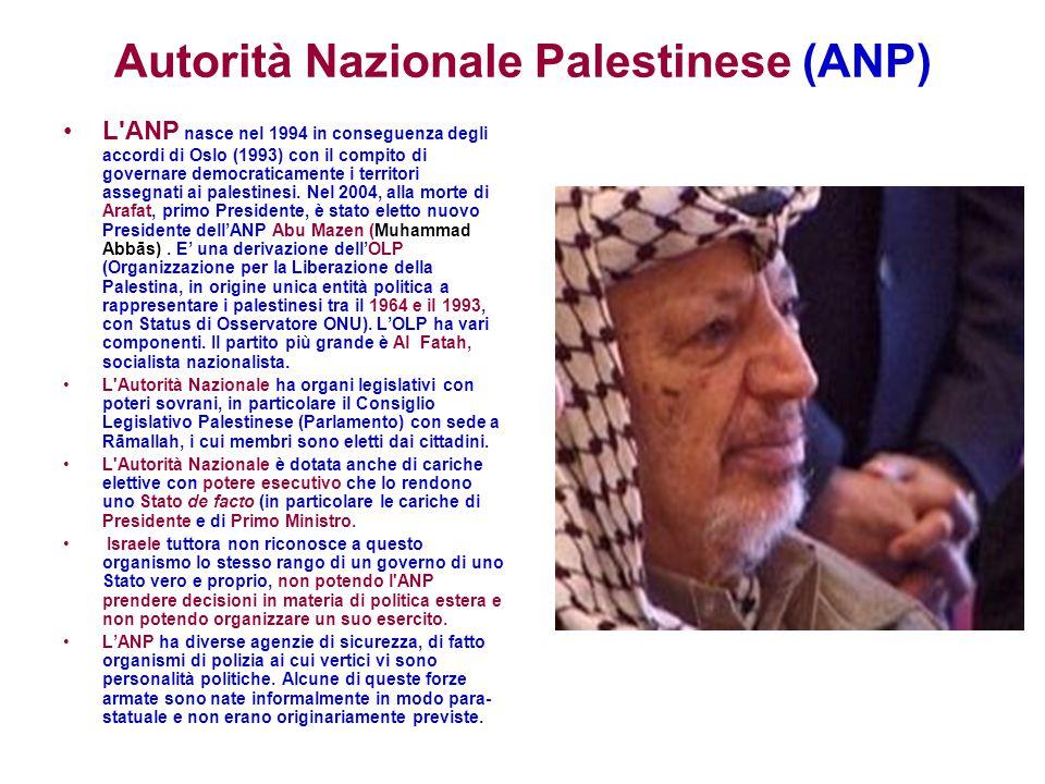 Autorità Nazionale Palestinese (ANP) L'ANP nasce nel 1994 in conseguenza degli accordi di Oslo (1993) con il compito di governare democraticamente i t