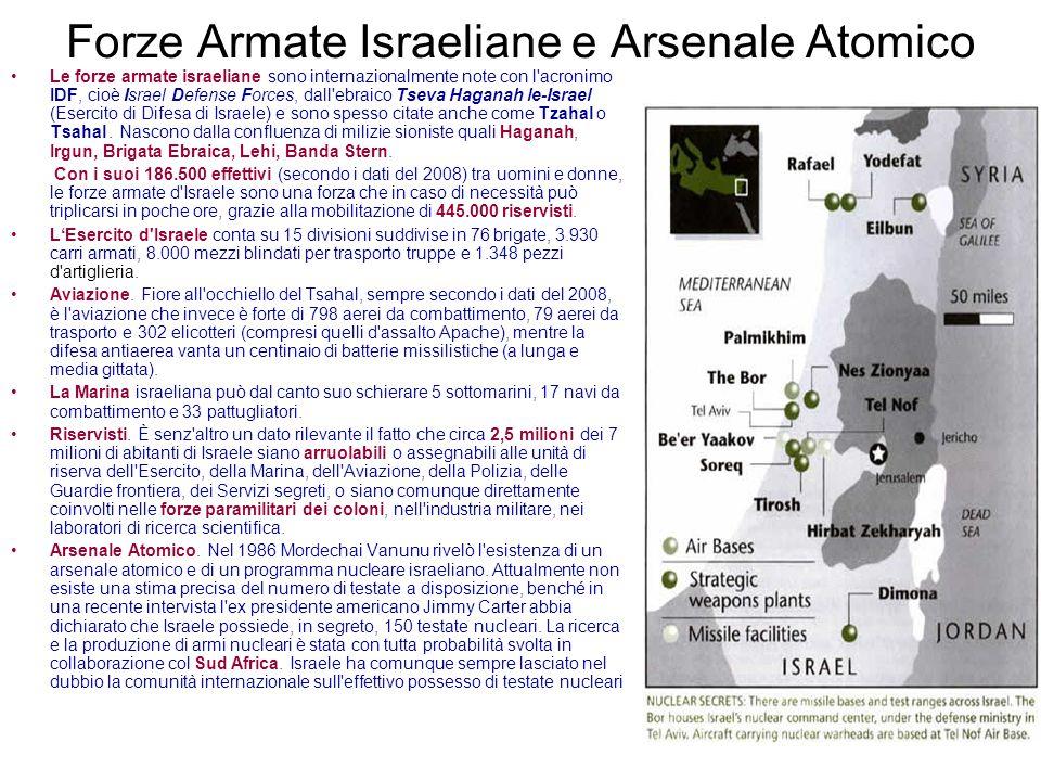 Forze Armate Israeliane e Arsenale Atomico Le forze armate israeliane sono internazionalmente note con l'acronimo IDF, cioè Israel Defense Forces, dal