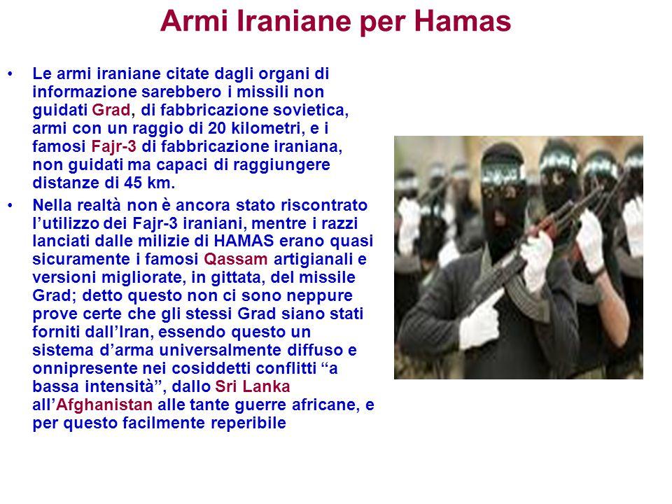 Armi Iraniane per Hamas Le armi iraniane citate dagli organi di informazione sarebbero i missili non guidati Grad, di fabbricazione sovietica, armi co