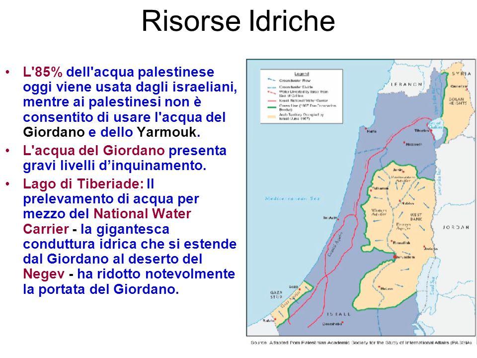 Risorse Idriche L'85% dell'acqua palestinese oggi viene usata dagli israeliani, mentre ai palestinesi non è consentito di usare l'acqua del Giordano e