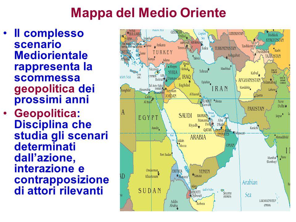 Mappa del Medio Oriente Il complesso scenario Mediorientale rappresenta la scommessa geopolitica dei prossimi anni Geopolitica: Disciplina che studia