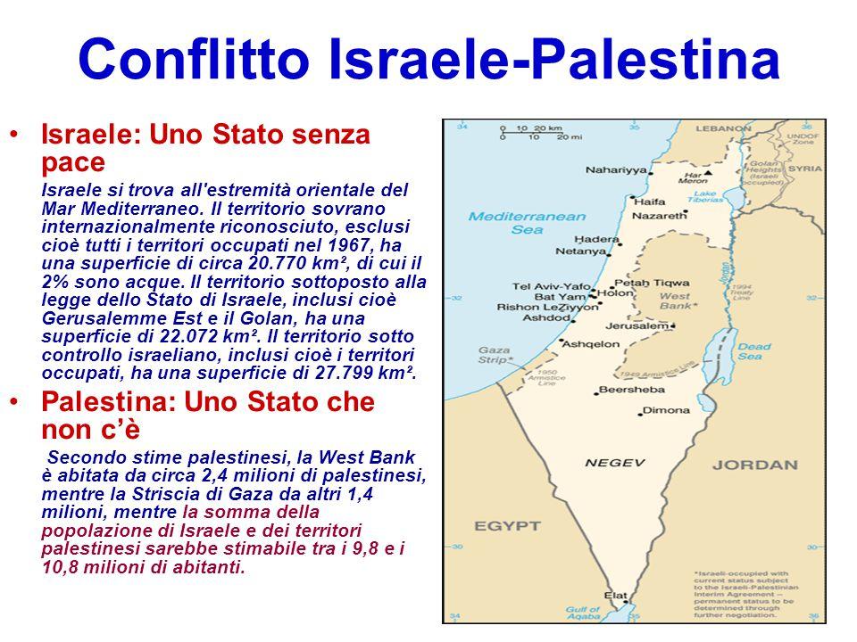 Conflitto Israele-Palestina Israele: Uno Stato senza pace Israele si trova all'estremità orientale del Mar Mediterraneo. Il territorio sovrano interna