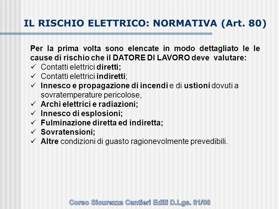 IL RISCHIO ELETTRICO: NORMATIVA (Art. 80) Per la prima volta sono elencate in modo dettagliato le le cause di rischio che il DATORE DI LAVORO deve val