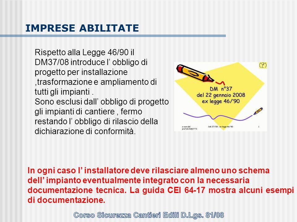Rispetto alla Legge 46/90 il DM37/08 introduce l' obbligo di progetto per installazione,trasformazione e ampliamento di tutti gli impianti. Sono esclu
