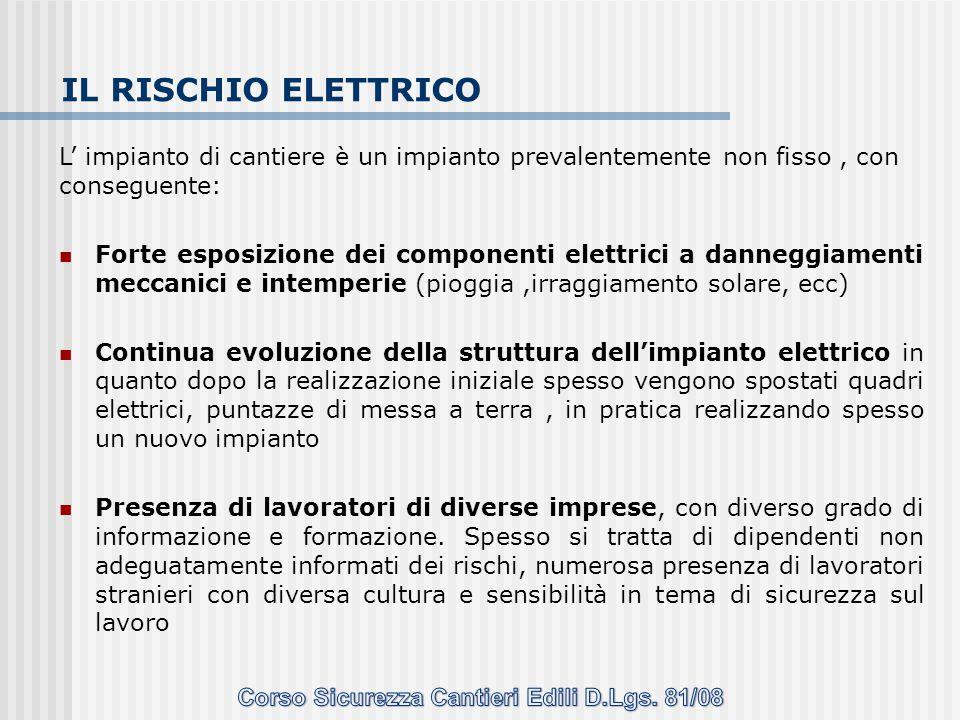 IL RISCHIO ELETTRICO L' impianto di cantiere è un impianto prevalentemente non fisso, con conseguente: Forte esposizione dei componenti elettrici a da