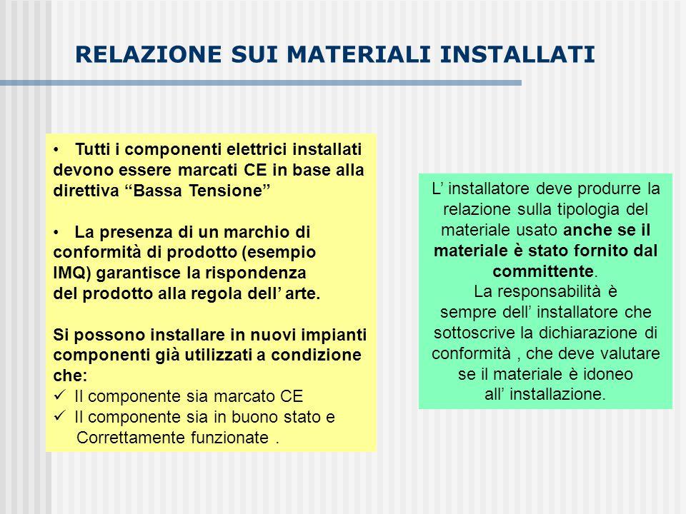 """RELAZIONE SUI MATERIALI INSTALLATI Tutti i componenti elettrici installati devono essere marcati CE in base alla direttiva """"Bassa Tensione"""" La presenz"""