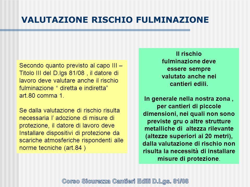 VALUTAZIONE RISCHIO FULMINAZIONE Secondo quanto previsto al capo III – Titolo III del D.lgs 81/08, il datore di lavoro deve valutare anche il rischio