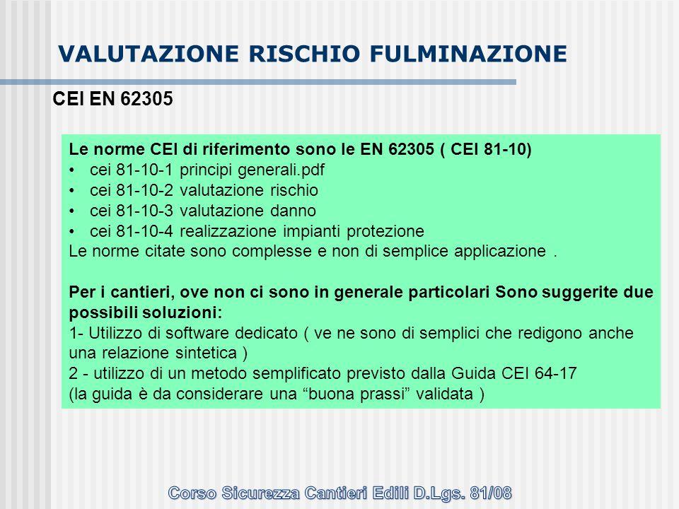 VALUTAZIONE RISCHIO FULMINAZIONE Le norme CEI di riferimento sono le EN 62305 ( CEI 81-10) cei 81-10-1 principi generali.pdf cei 81-10-2 valutazione r
