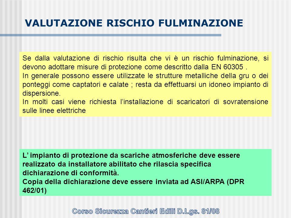 Se dalla valutazione di rischio risulta che vi è un rischio fulminazione, si devono adottare misure di protezione come descritto dalla EN 60305. In ge