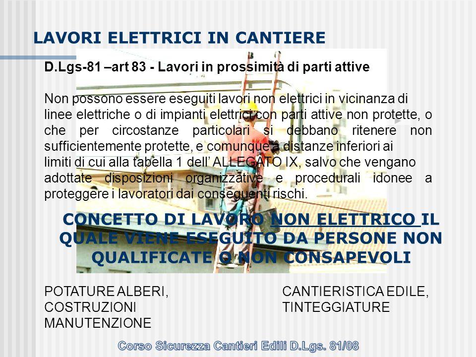 D.Lgs-81 –art 83 - Lavori in prossimità di parti attive Non possono essere eseguiti lavori non elettrici in vicinanza di linee elettriche o di impiant