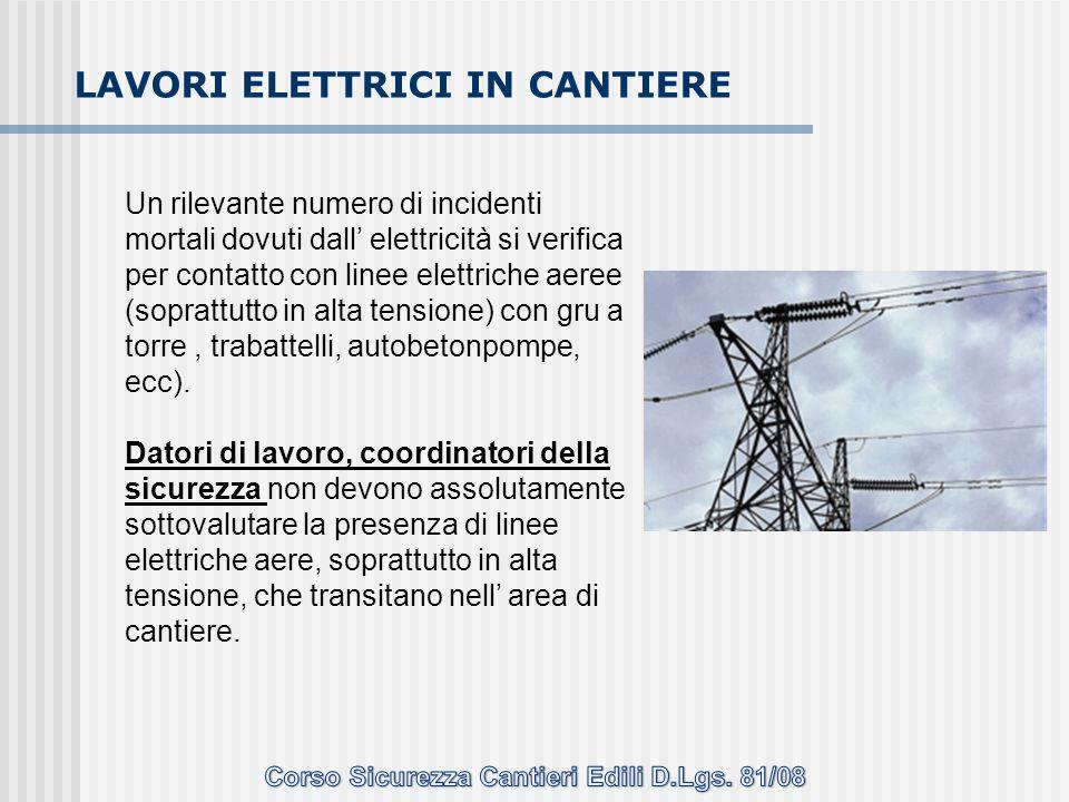 Un rilevante numero di incidenti mortali dovuti dall' elettricità si verifica per contatto con linee elettriche aeree (soprattutto in alta tensione) c