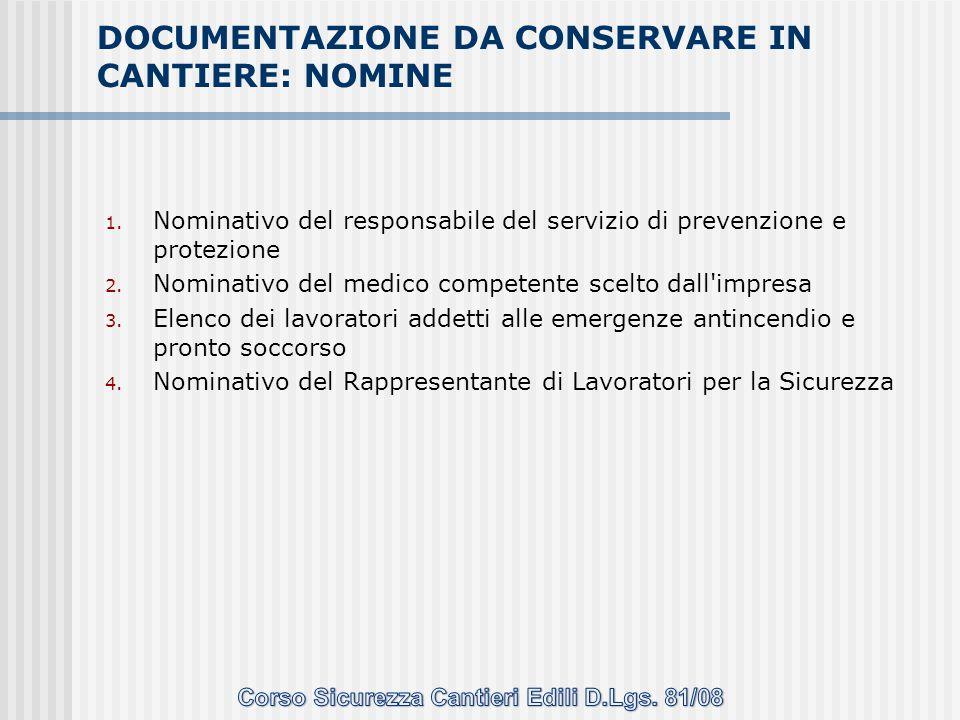 1. Nominativo del responsabile del servizio di prevenzione e protezione 2. Nominativo del medico competente scelto dall'impresa 3. Elenco dei lavorato