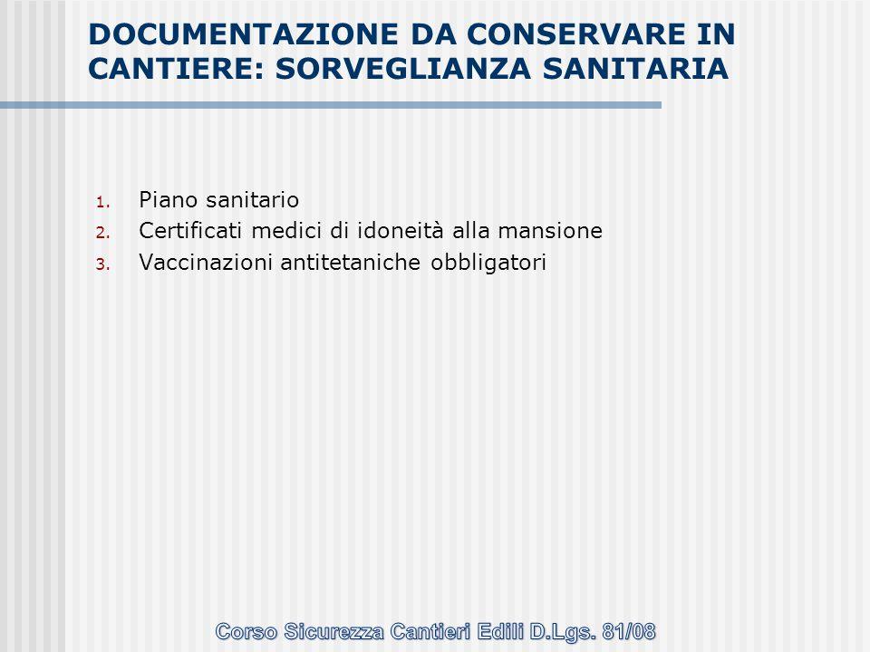 1. Piano sanitario 2. Certificati medici di idoneità alla mansione 3. Vaccinazioni antitetaniche obbligatori DOCUMENTAZIONE DA CONSERVARE IN CANTIERE: