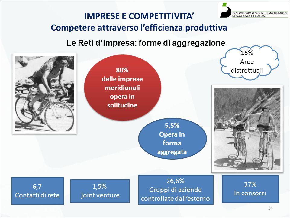 14 Le Reti d'impresa: forme di aggregazione IMPRESE E COMPETITIVITA' Competere attraverso l'efficienza produttiva 80% delle imprese meridionali opera in solitudine 80% delle imprese meridionali opera in solitudine 5,5% Opera in forma aggregata 6,7 Contatti di rete 1,5% joint venture 26,6% Gruppi di aziende controllate dall'esterno 37% In consorzi 15% Aree distrettuali