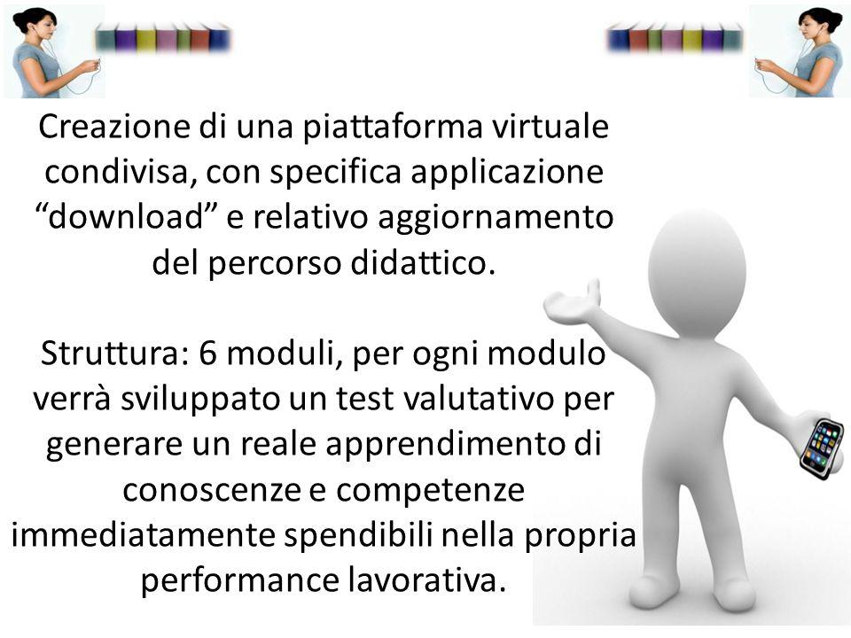 Creazione di una piattaforma virtuale condivisa, con specifica applicazione download e relativo aggiornamento del percorso didattico.