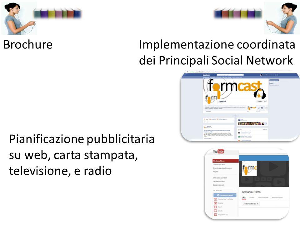 Implementazione coordinata dei Principali Social Network Brochure Pianificazione pubblicitaria su web, carta stampata, televisione, e radio