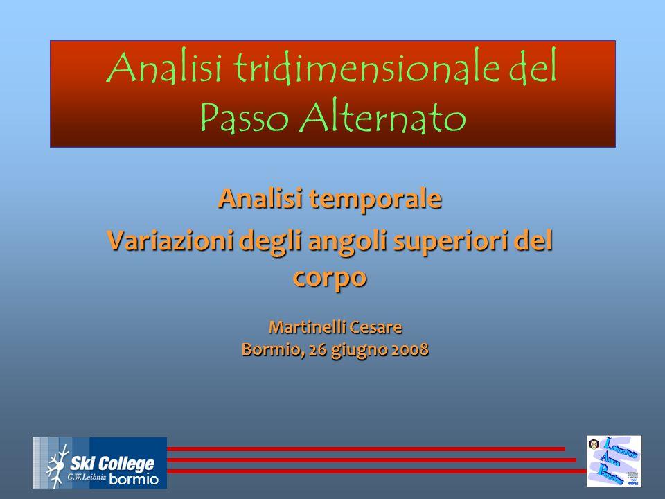 bormio Analisi tridimensionale del Passo Alternato Analisi temporale Variazioni degli angoli superiori del corpo Martinelli Cesare Bormio, 26 giugno 2008