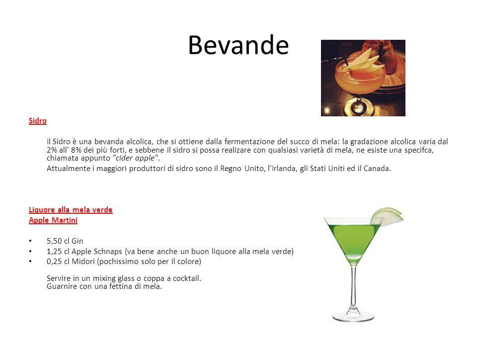 Bevande Sidro Il Sidro è una bevanda alcolica, che si ottiene dalla fermentazione del succo di mela: la gradazione alcolica varia dal 2% all' 8% dei p