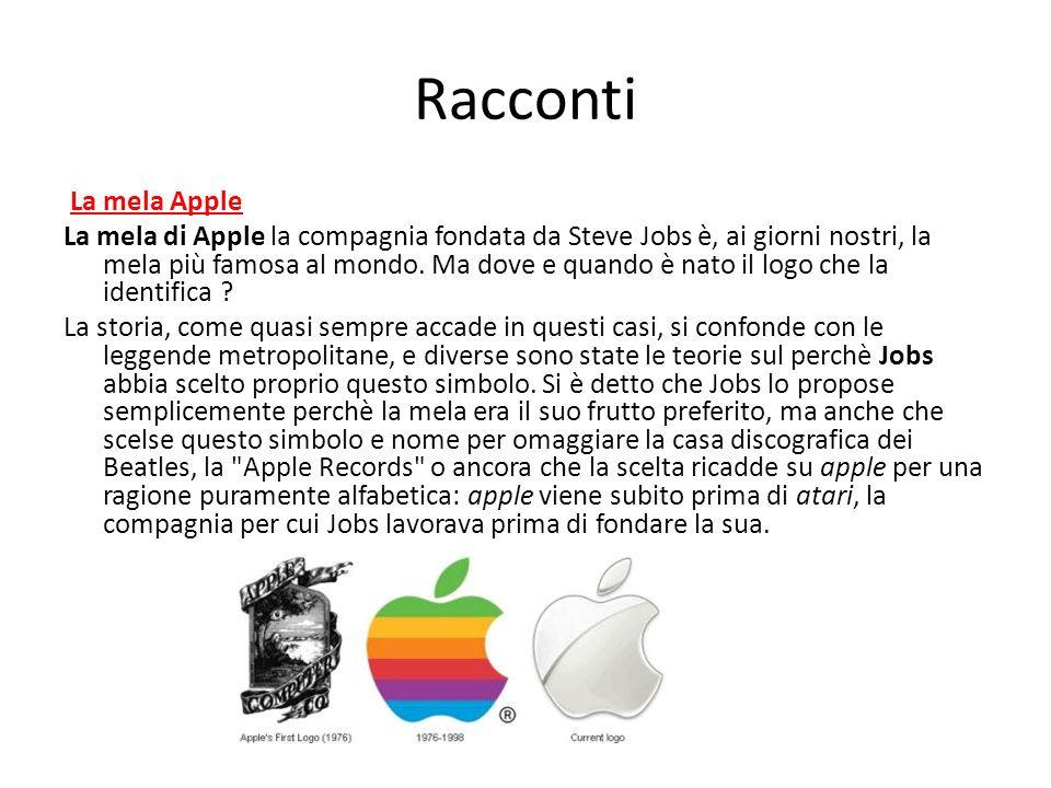 Racconti La mela Apple La mela di Apple la compagnia fondata da Steve Jobs è, ai giorni nostri, la mela più famosa al mondo. Ma dove e quando è nato i