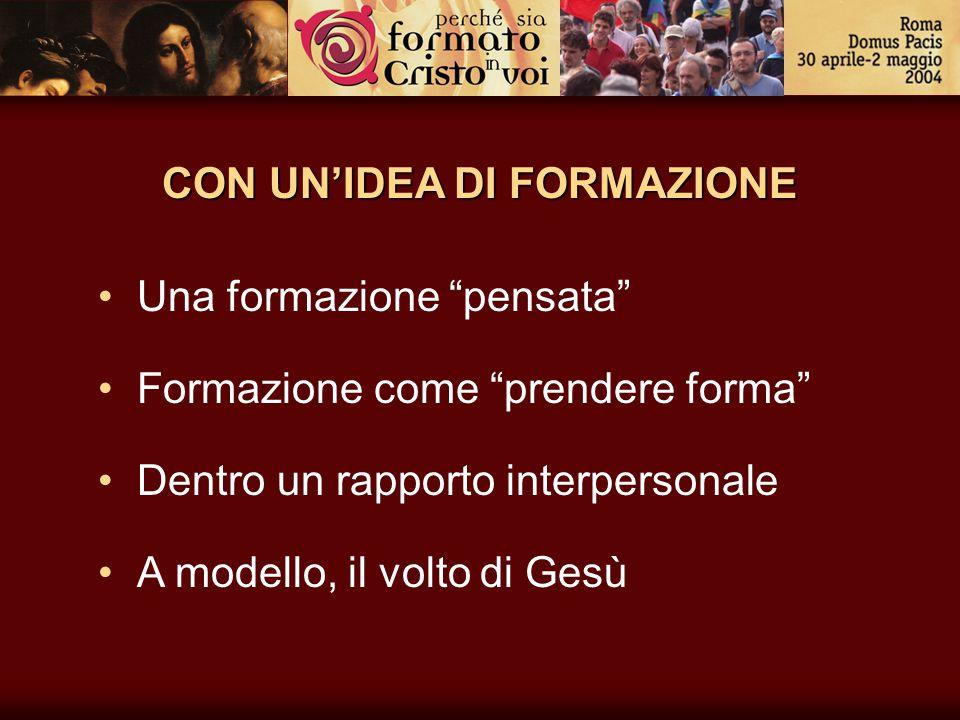 """CON UN'IDEA DI FORMAZIONE Una formazione """"pensata"""" Formazione come """"prendere forma"""" Dentro un rapporto interpersonale A modello, il volto di Gesù"""
