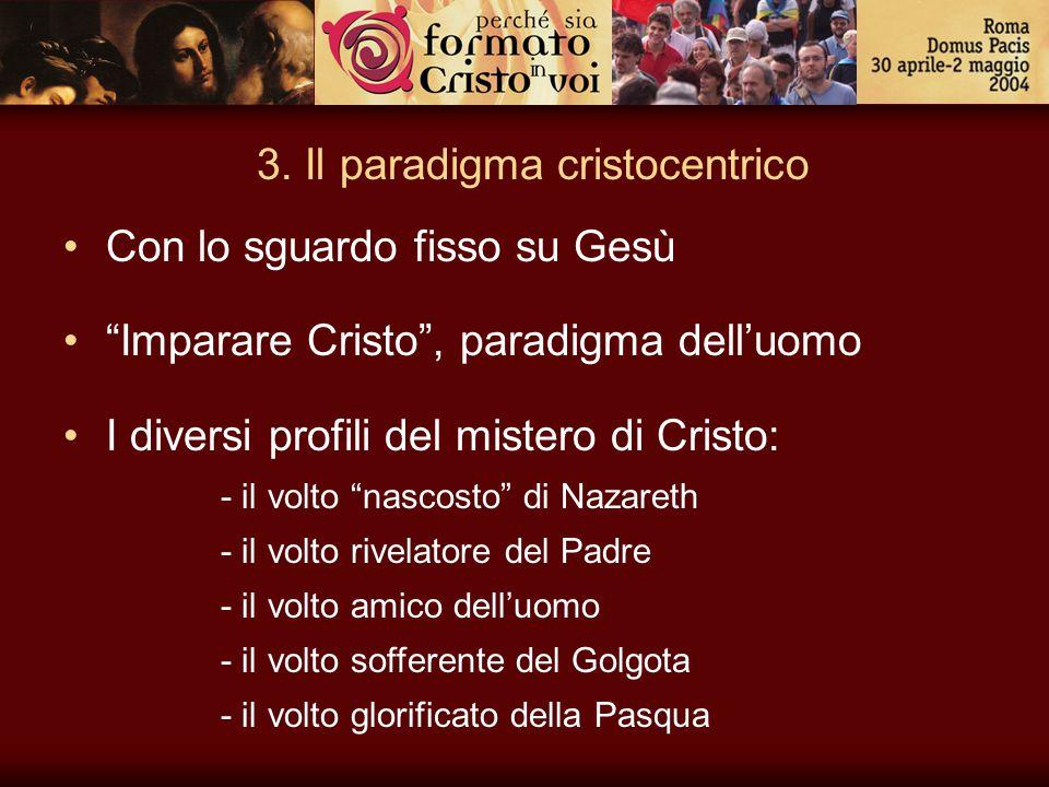 """3. Il paradigma cristocentrico Con lo sguardo fisso su Gesù """"Imparare Cristo"""", paradigma dell'uomo I diversi profili del mistero di Cristo: - il volto"""