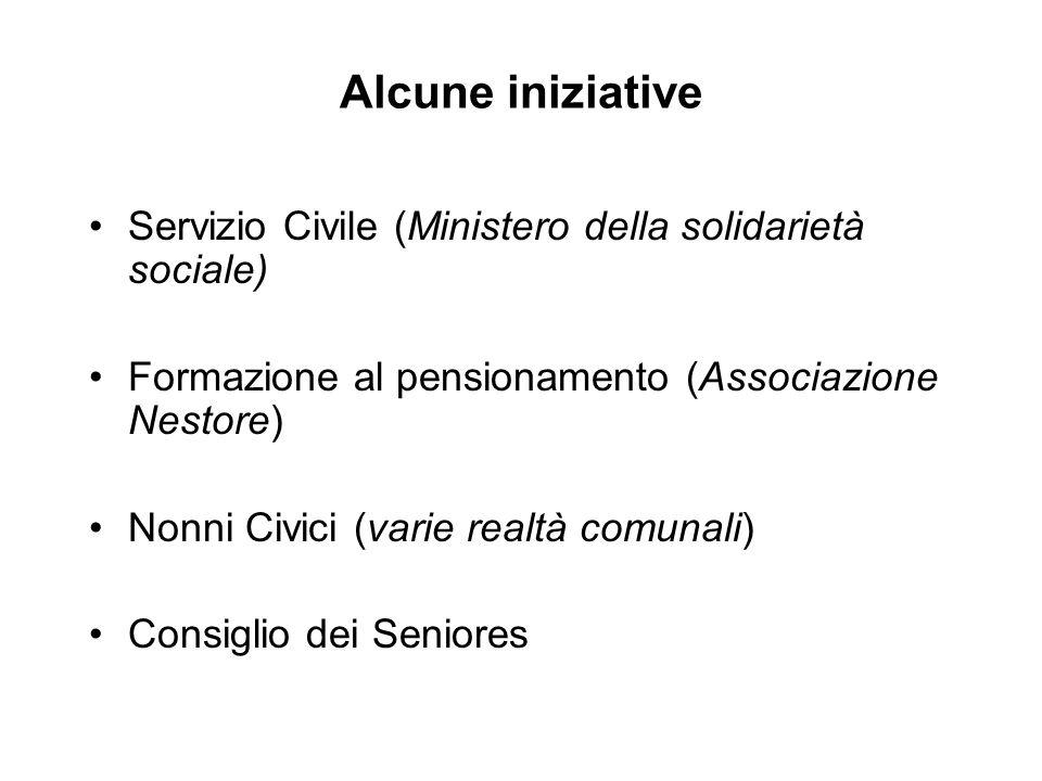 Alcune iniziative Servizio Civile (Ministero della solidarietà sociale) Formazione al pensionamento (Associazione Nestore) Nonni Civici (varie realtà comunali) Consiglio dei Seniores