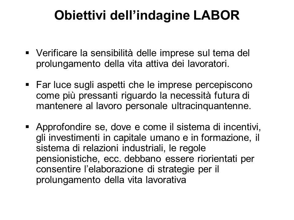 Obiettivi dell'indagine LABOR  Verificare la sensibilità delle imprese sul tema del prolungamento della vita attiva dei lavoratori.