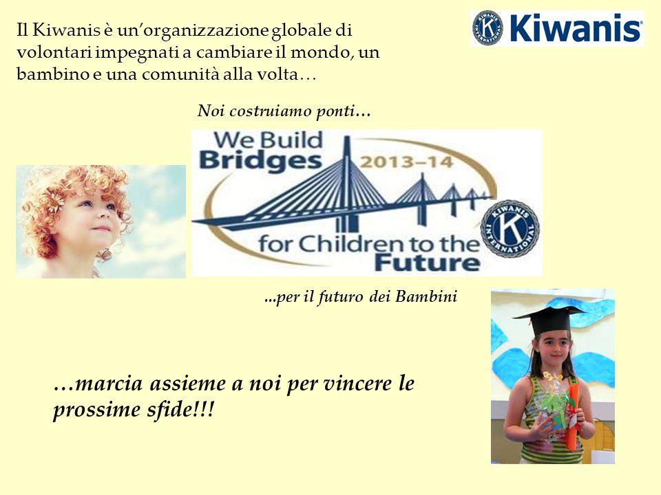 Il Kiwanis è un'organizzazione globale di volontari impegnati a cambiare il mondo, un bambino e una comunità alla volta… Noi costruiamo ponti…...per il futuro dei Bambini …marcia assieme a noi per vincere le prossime sfide!!!