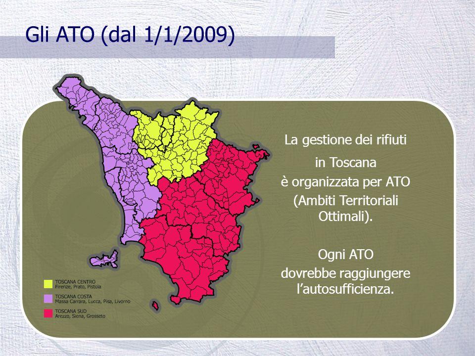 La gestione dei rifiuti In Italia la gestione dei rifiuti solidi urbani è di competenza comunale. In Toscana la maggior parte dei Comuni ha delegato i