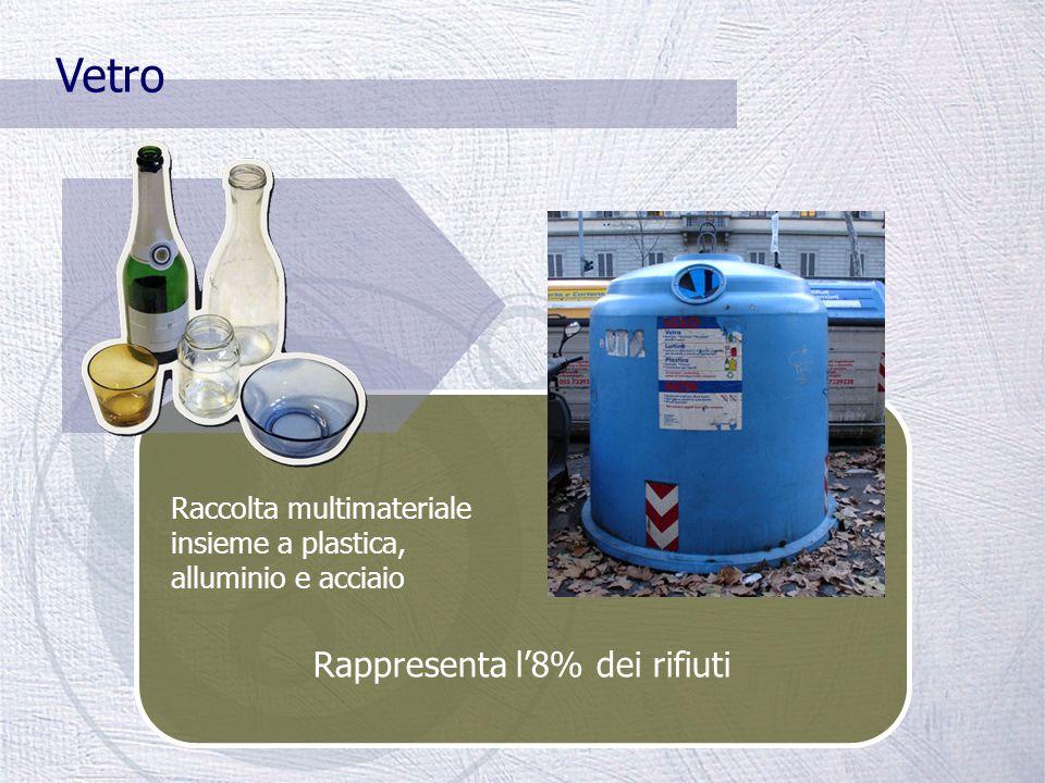 In Toscana il 90% degli imballaggi in vetro, plastica e lattine in acciaio e alluminio sono raccolte per mezzo di campane stradali (metodo di raccolta multimateriale) Il multimateriale è composto da: 75% vetro 18% plastica 3% alluminio e acciaio 4% altro (es.