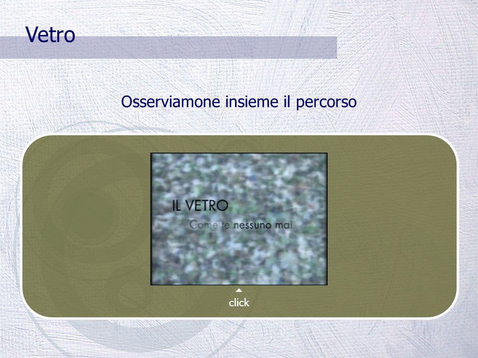 Vetro La raccolta differenziata del vetro comporta un risparmio notevole: Sulle materie prime (silice, soda, calcio) Energetico (l'energia necessaria per riciclare il vetro è molto più bassa rispetto a quella per fondere la miscela di silice, soda e calcio) Ambientale (per riciclare il vetro non sono necessarie trasformazioni chimiche che rilasciano sostanze tossiche) IL VETRO È RICICLABILE ALL'INFINITO