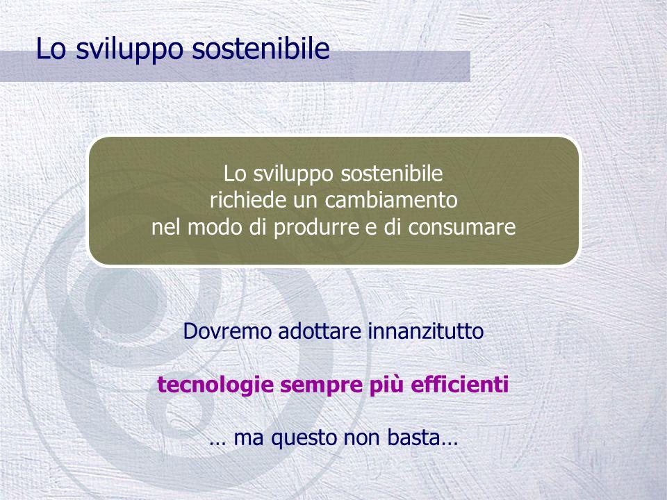 Lo sviluppo sostenibile È un modello di sviluppo che soddisfa i bisogni delle generazioni presenti senza compromettere la capacità delle generazioni f