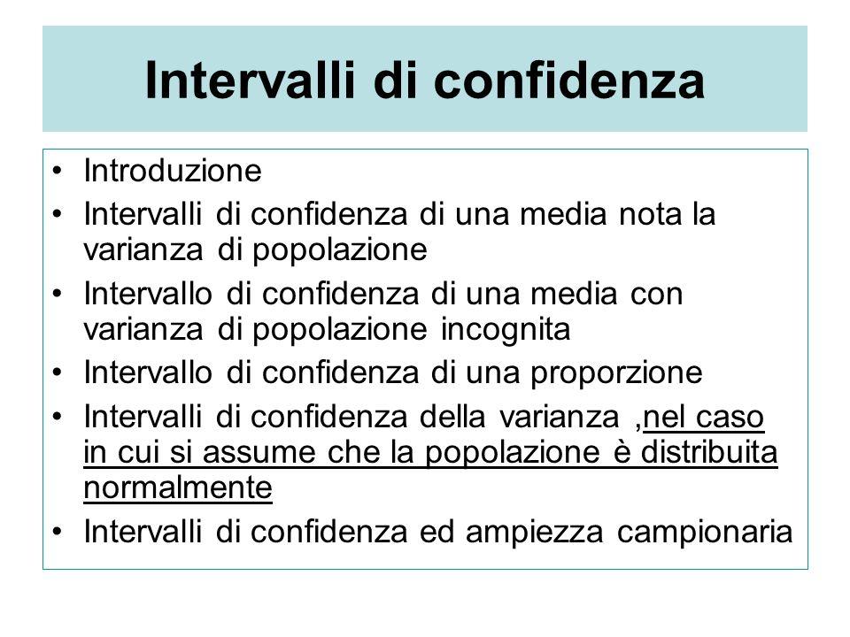 Intervalli di confidenza Introduzione Intervalli di confidenza di una media nota la varianza di popolazione Intervallo di confidenza di una media con