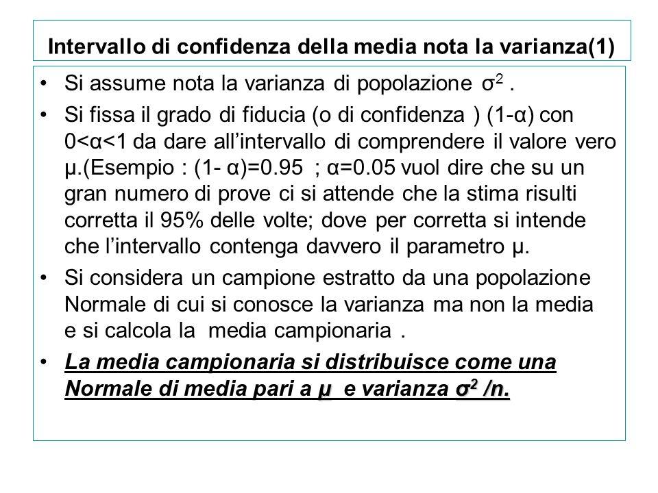 Intervallo di confidenza della media nota la varianza(1) Si assume nota la varianza di popolazione σ 2. Si fissa il grado di fiducia (o di confidenza