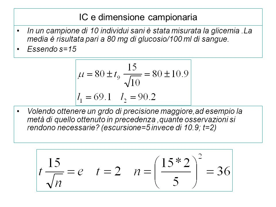 IC e dimensione campionaria In un campione di 10 individui sani è stata misurata la glicemia.La media è risultata pari a 80 mg di glucosio/100 ml di s