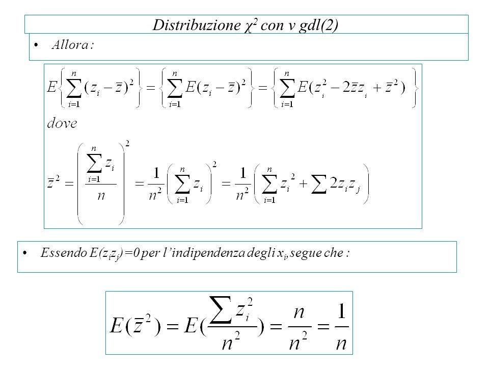 Distribuzione χ 2 con v gdl(2) Allora : Essendo E(z i z j )=0 per l'indipendenza degli x i,segue che :
