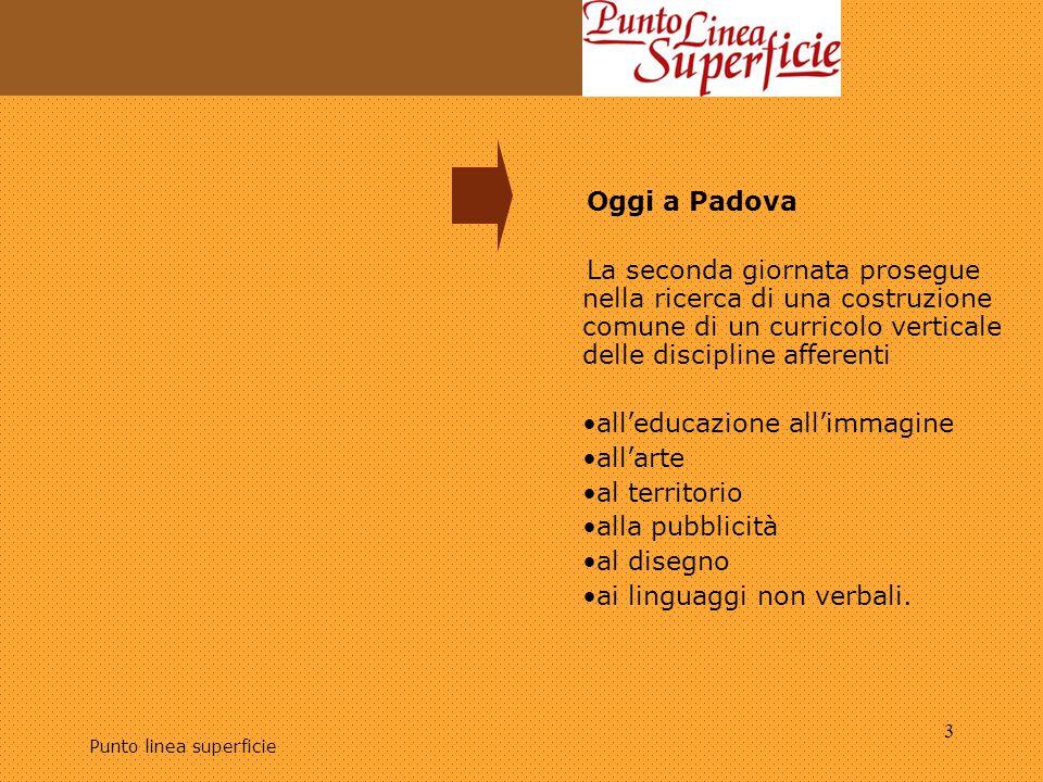 Punto linea superficie 4 Oggi a Padova Il seminario è aperto alla presenza di docenti delle scuole medie inferiori e superiori, insieme a tirocinanti e docenti della Scuola di Specializzazione per la formazione degli insegnanti del Veneto.