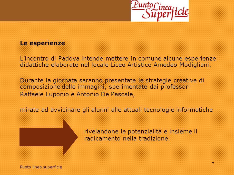 Punto linea superficie 7 Le esperienze L'incontro di Padova intende mettere in comune alcune esperienze didattiche elaborate nel locale Liceo Artistic
