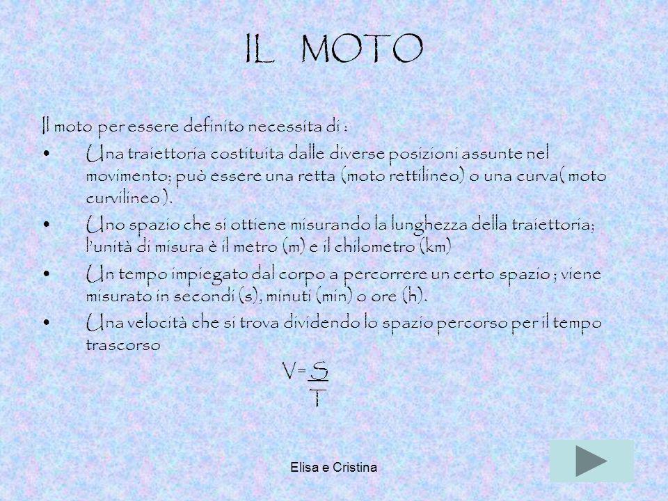 Elisa e Cristina20 IL MOTO Il moto per essere definito necessita di : Una traiettoria costituita dalle diverse posizioni assunte nel movimento; può es