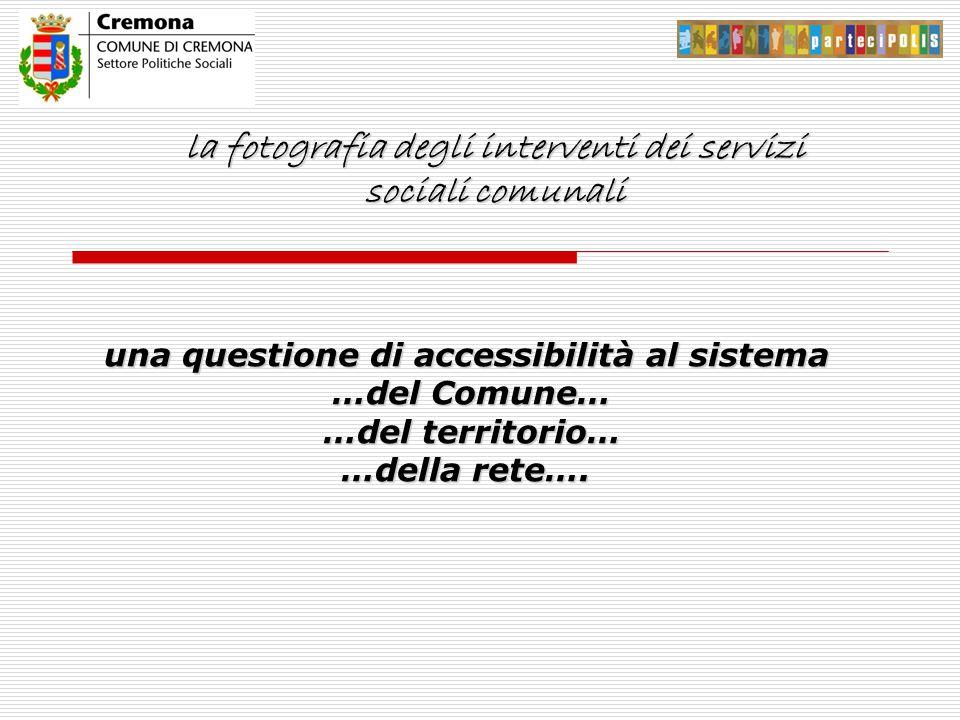 la fotografia degli interventi dei servizi sociali comunali una questione di accessibilità al sistema …del Comune… …del Comune… …del territorio… …del