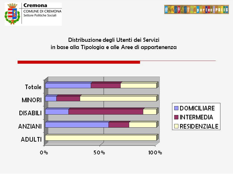 Distribuzione degli Utenti dei Servizi in base alla Tipologia e alle Aree di appartenenza