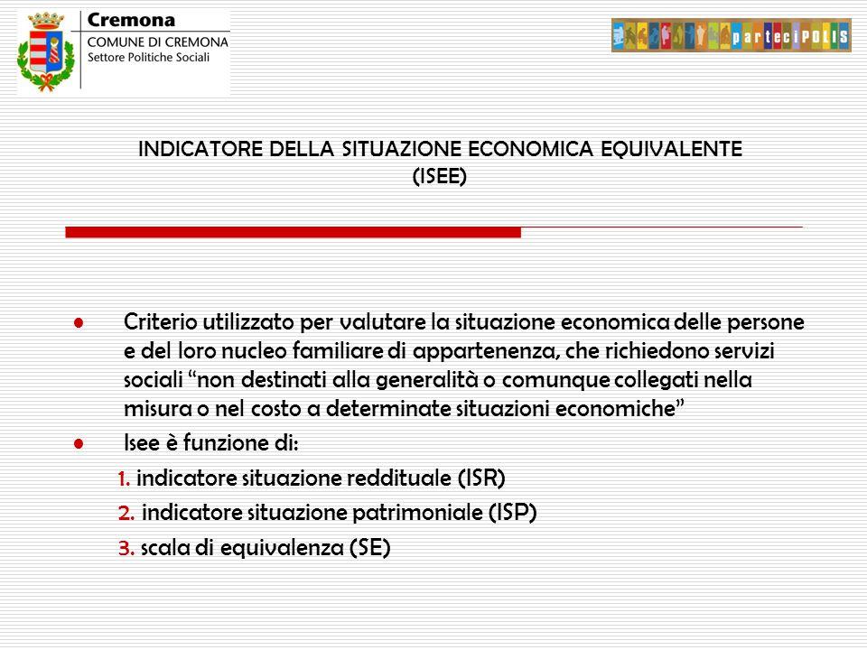 INDICATORE DELLA SITUAZIONE ECONOMICA EQUIVALENTE (ISEE) Criterio utilizzato per valutare la situazione economica delle persone e del loro nucleo fami